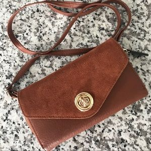Faux leather/velour crossbody-wristlet-clutch